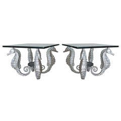 Pair of Aluminum and Bronze Seahorse Tables