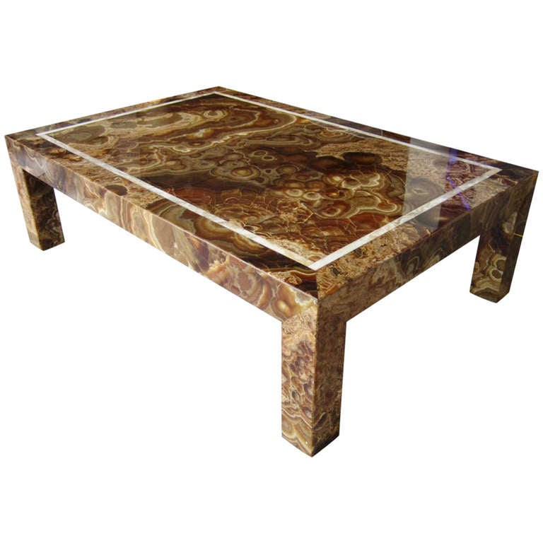 Vintage Onyx Rectangular Coffee Table At 1stdibs