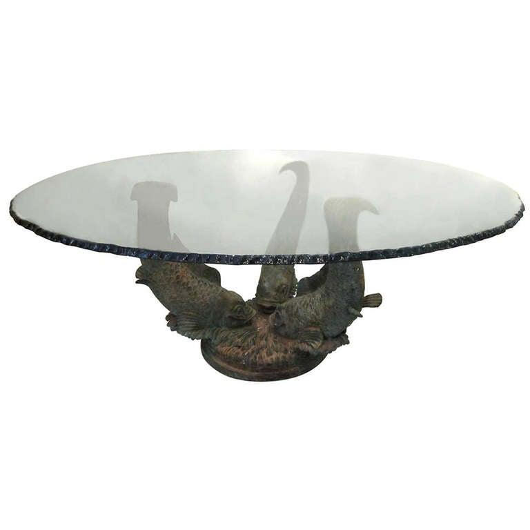 Bronze koi fish center table at 1stdibs for Koi furniture