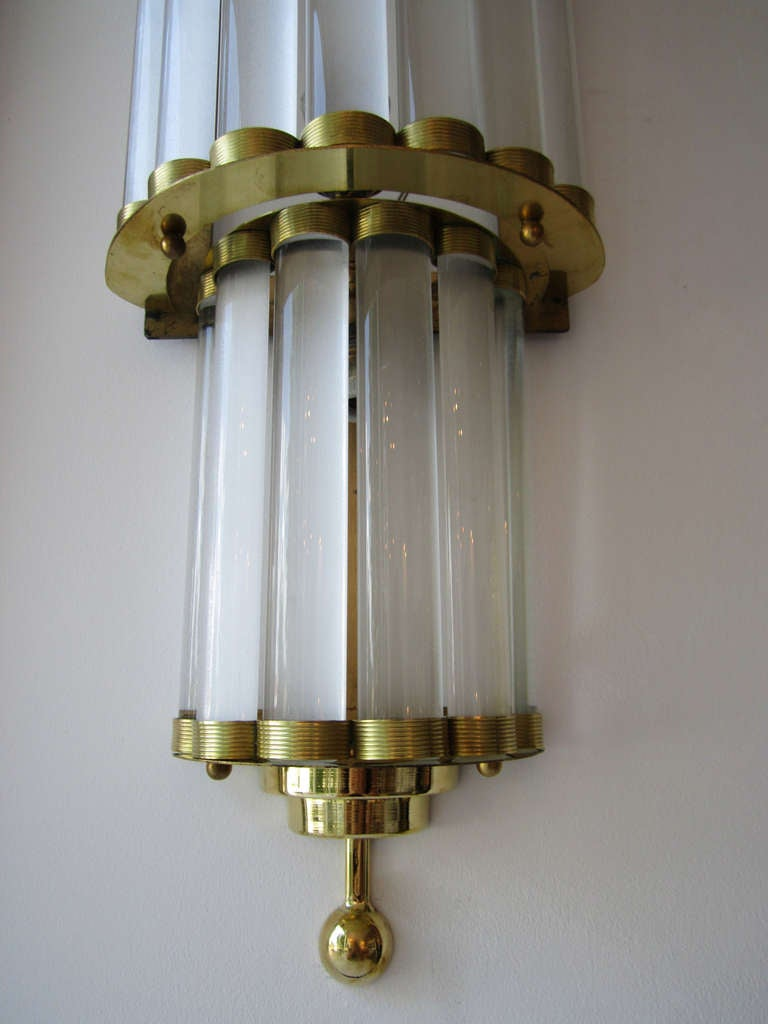 Tall Glass Wall Sconces : Pair of Large Murano Glass Wall Sconces at 1stdibs