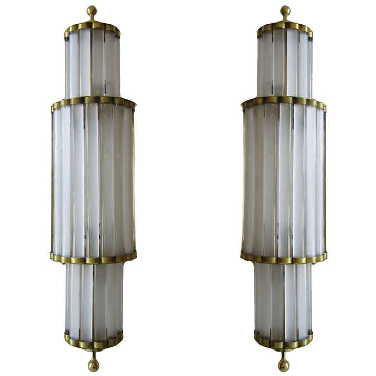 Wall Sconces With Glass : Pair of Large Murano Glass Wall Sconces at 1stdibs
