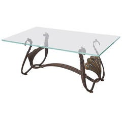 Sculptural Italian Iron Coffee Table with Glass Top