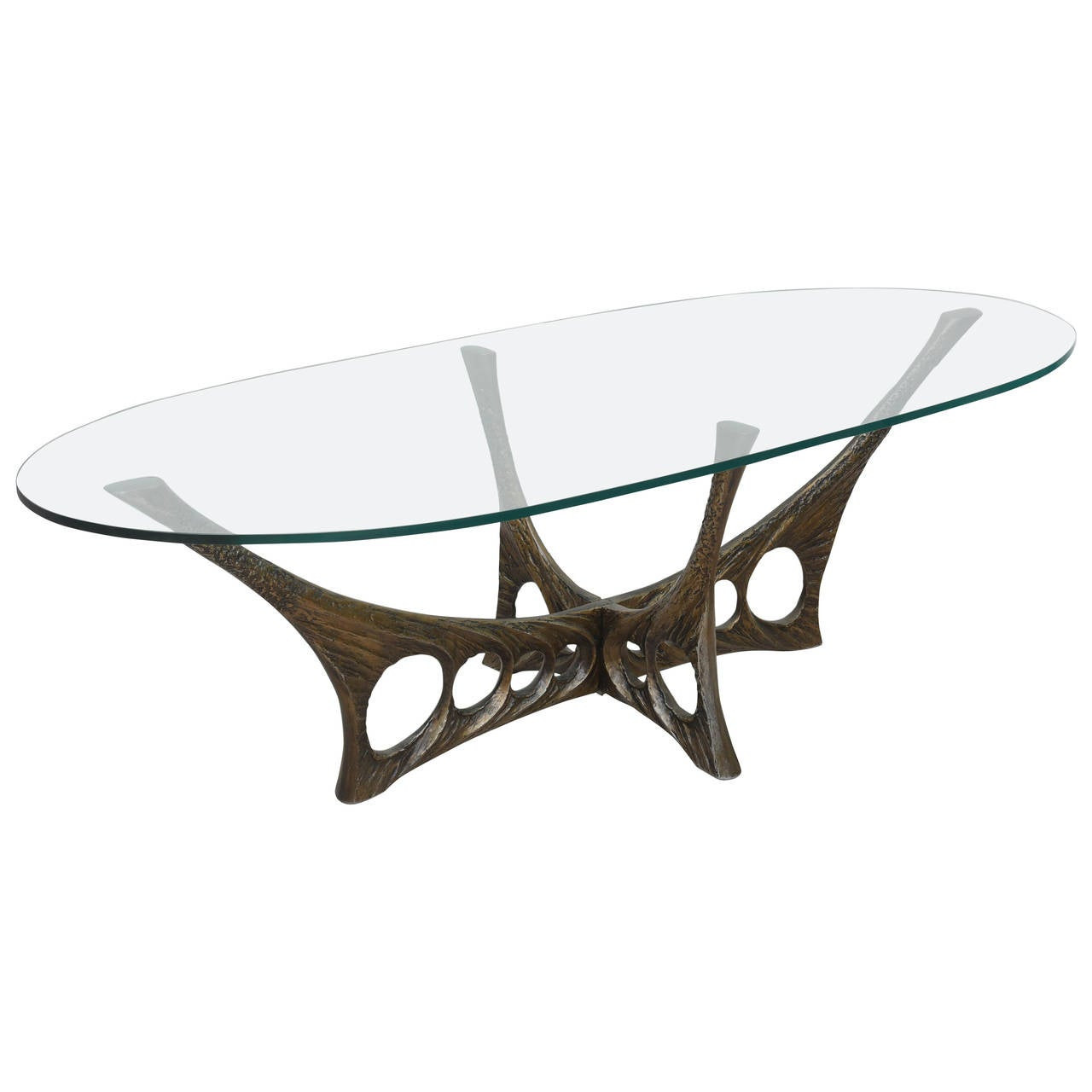 French Brutalist Coffee Table with Glass Top by Willy Ceyssens 1