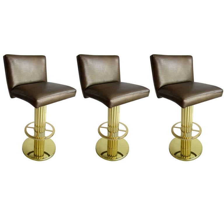 Three Mid-Century Modern Bar Stools in the Style of Karl Springer at ...