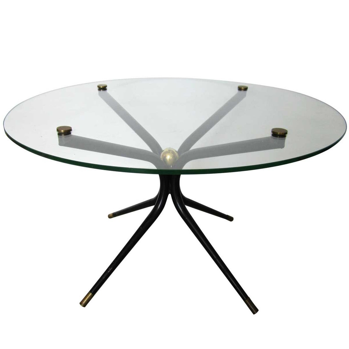 Mid Century Modern French Table With Brass Accents At 1stdibs