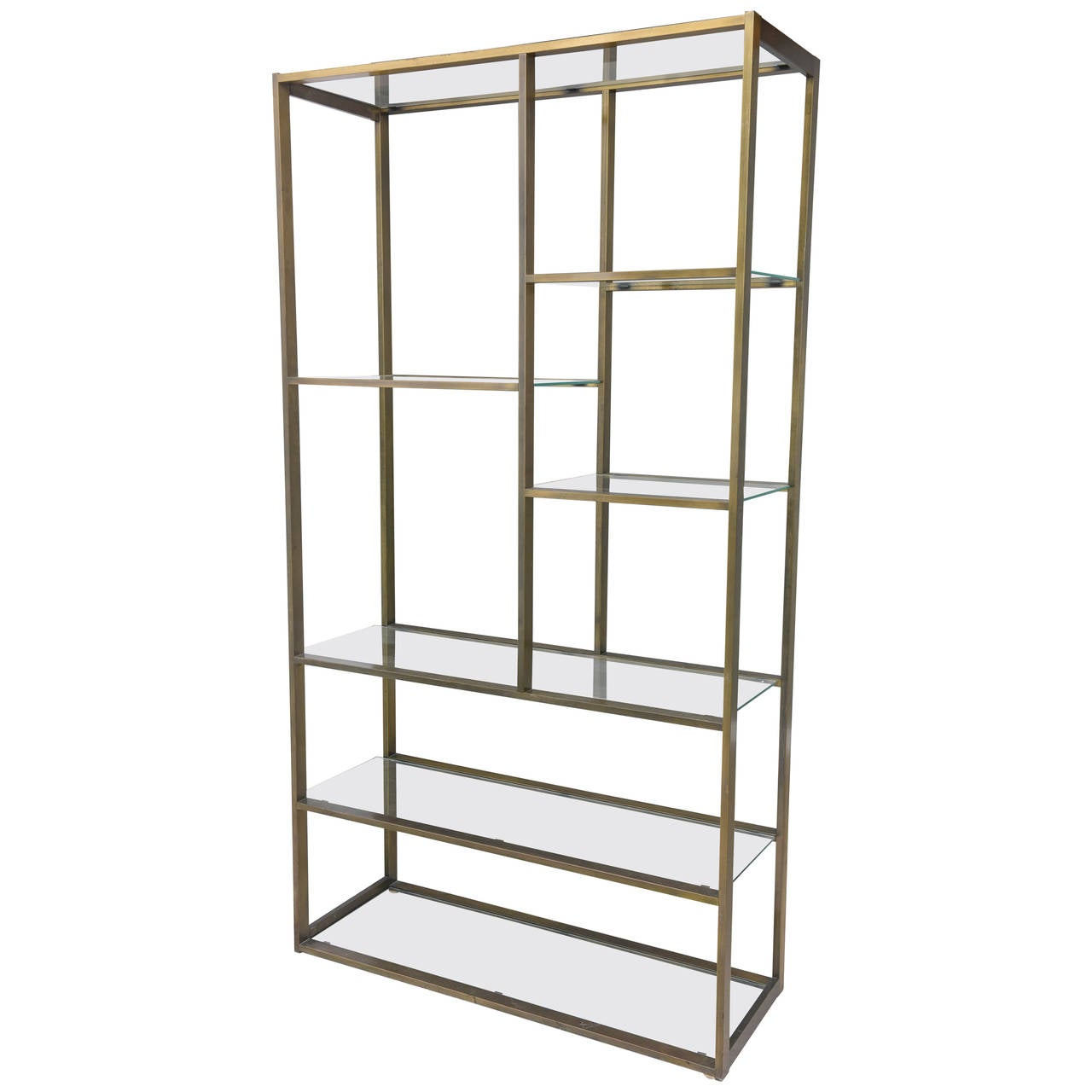 bronze milo baughman etagere with glass shelves at 1stdibs. Black Bedroom Furniture Sets. Home Design Ideas