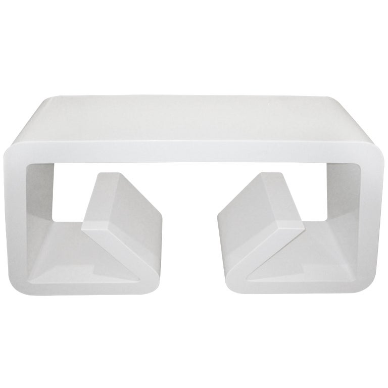 White Lacquer Geometric Console Table At 1stdibs