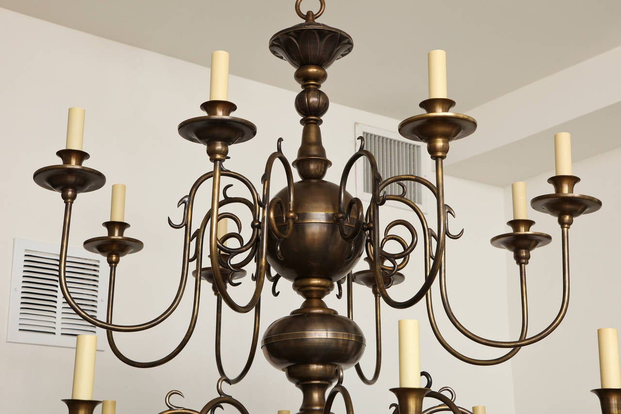 American Philipse Two-Tier Sixteen-Light Chandelier For Sale