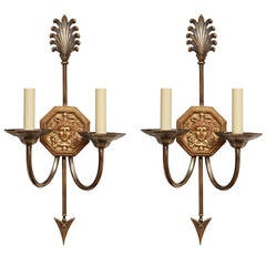 A Pair of Caldwell Two-Light Empire Style Sconces