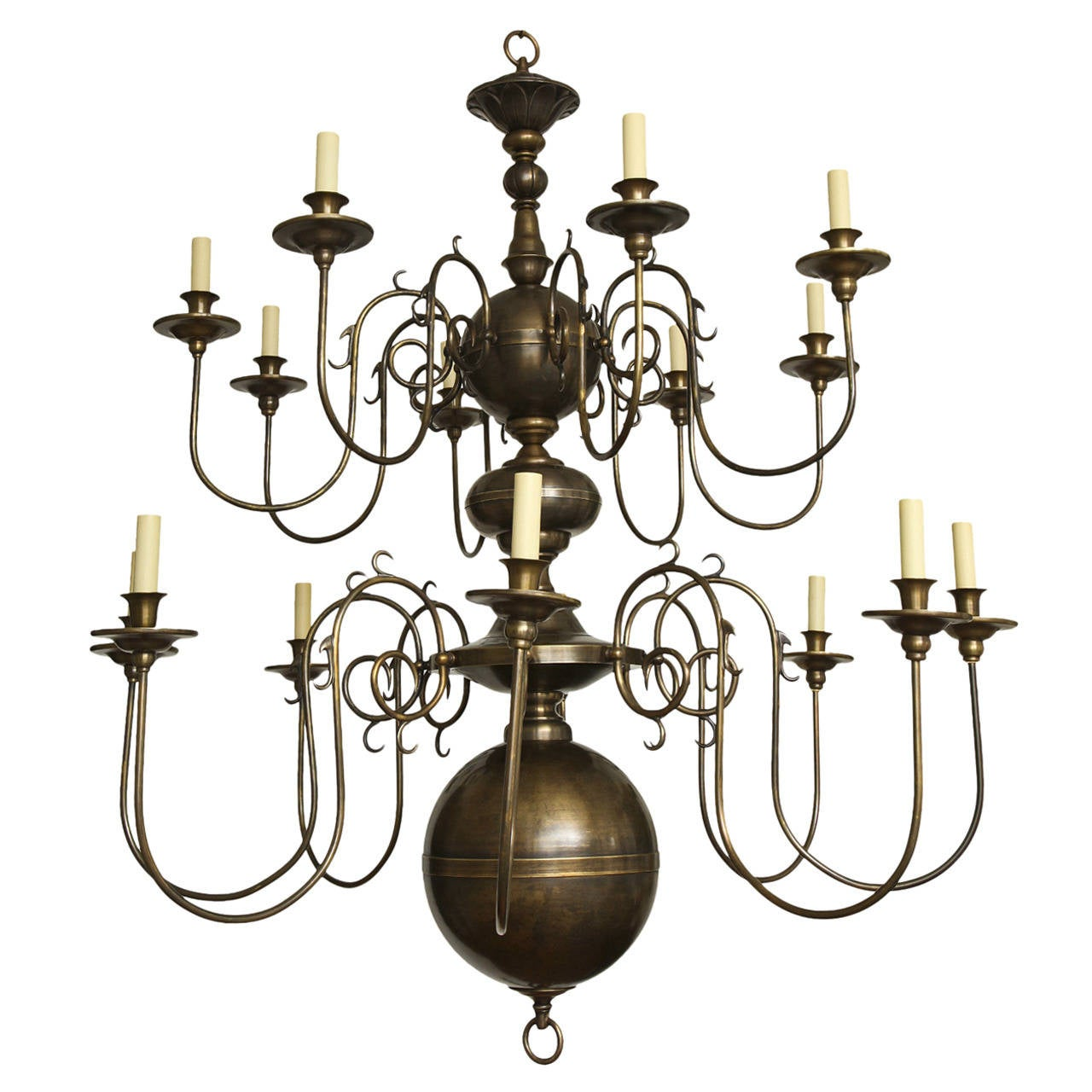 Philipse Two-Tier Sixteen-Light Chandelier For Sale