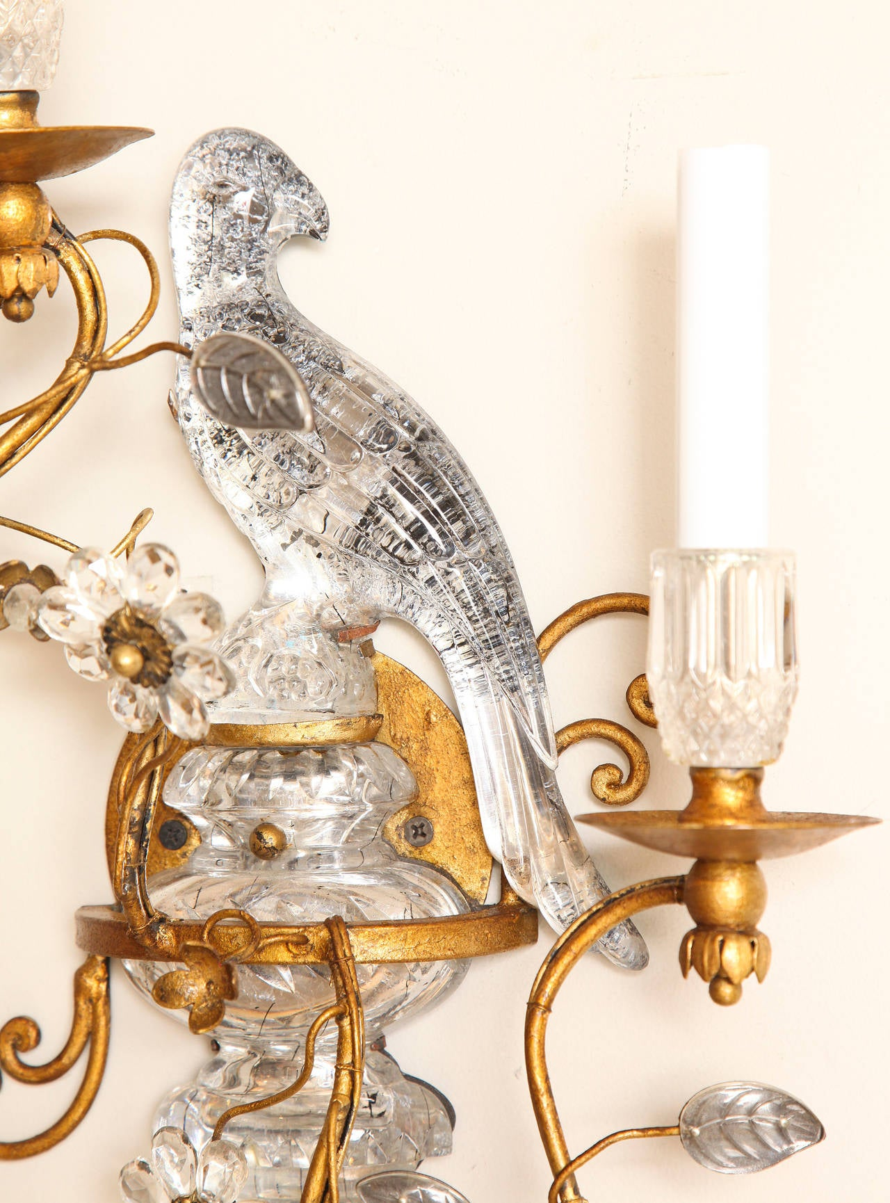 Wall Sconces With Birds : Pair of Bagues Style Crystal and Bronze Bird Sconces at 1stdibs