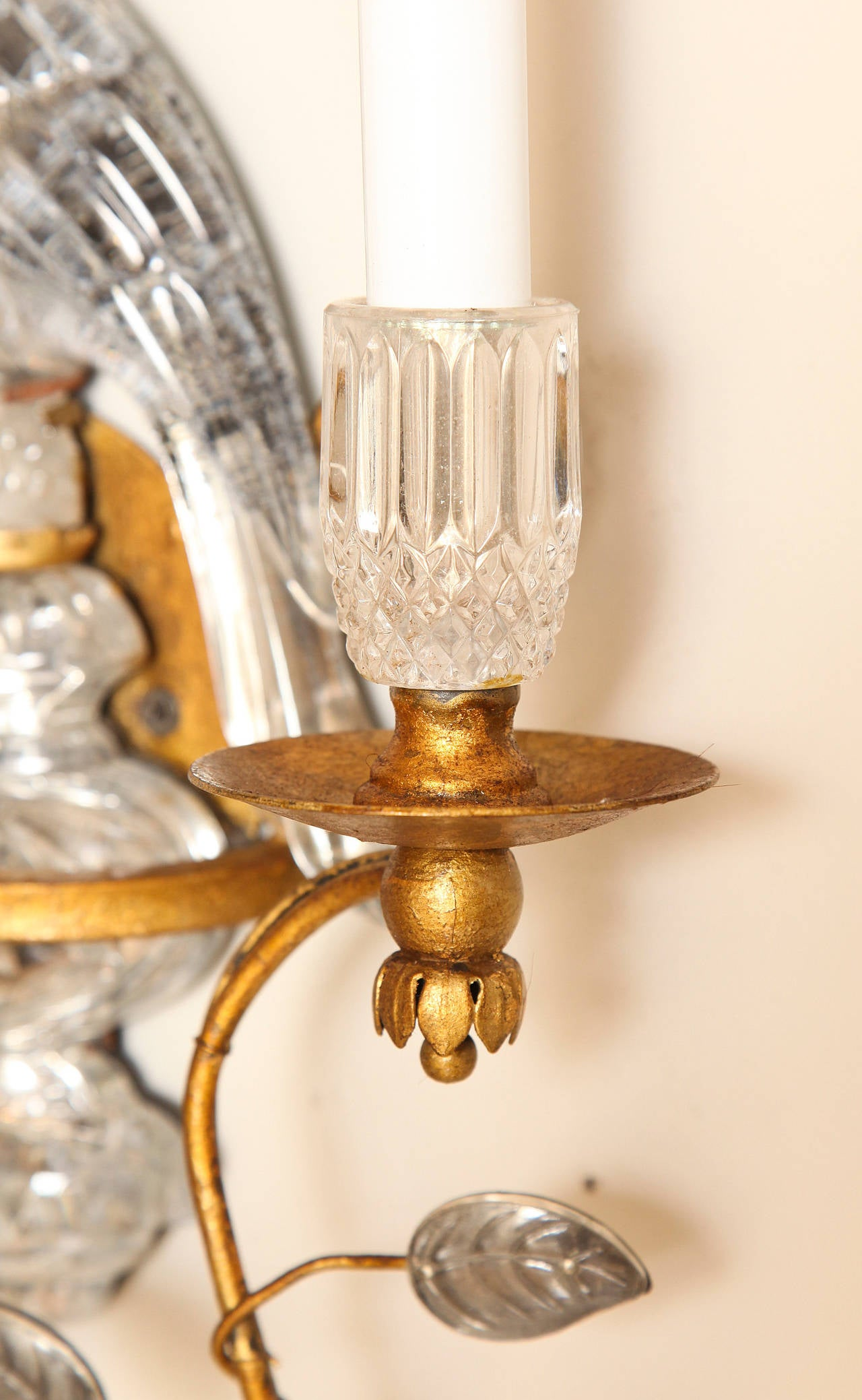 Pair of Bagues Style Crystal and Bronze Bird Sconces at 1stdibs