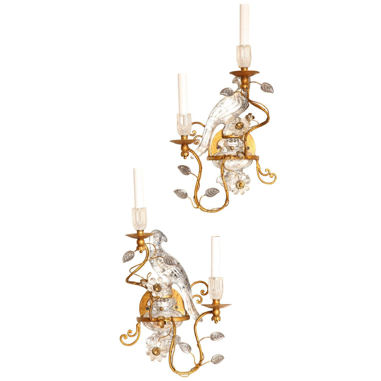 Crystal Bird Wall Sconces : Pair of Bagues Style Crystal and Bronze Bird Sconces at 1stdibs
