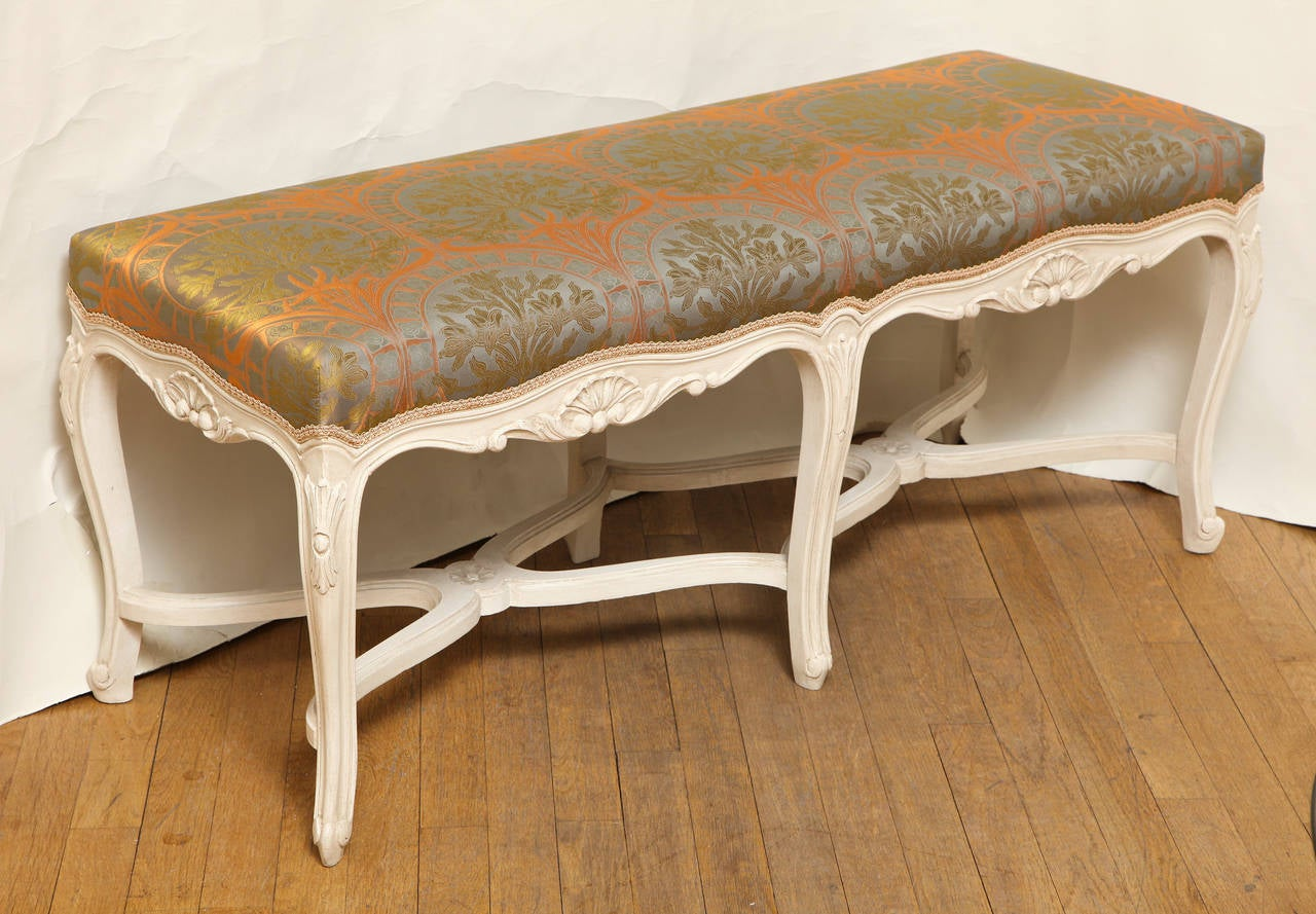 French Louis XV Style White Painted Bench At 1stdibs