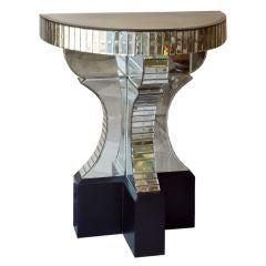 A Serge Roche Style Demilune Mirrored Console Table