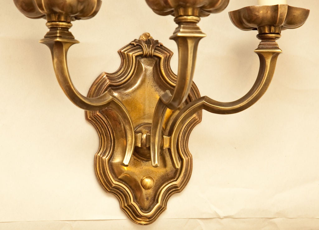 Lantern Style Wall Sconces : A Pair of 3 Light Baroque Style Wall Sconces by Caldwell at 1stdibs