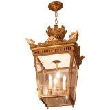 A Square French Bronze Lantern with Pierced Fret Gallery