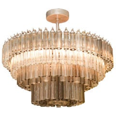A Contemporary Design American Ceiling Light w/ Glass Cylinders
