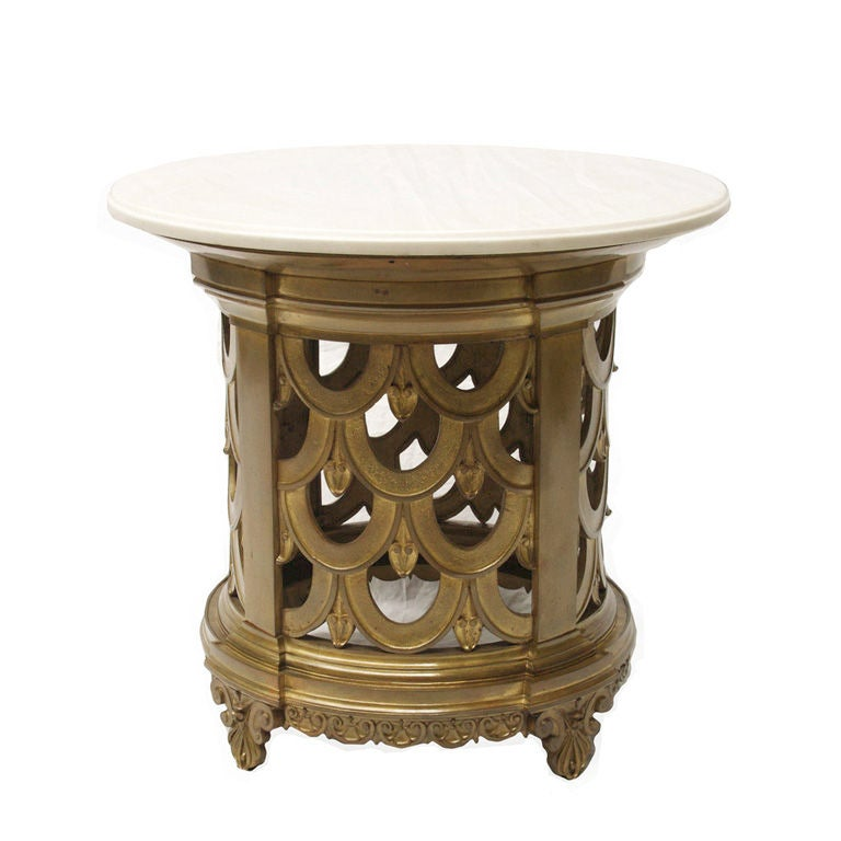 A french art deco side table with carrera marble top at for Table carrera