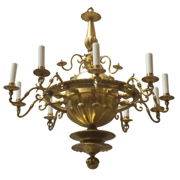 A Dutch Bronze 10 Light Chandelier with Orb Shaped Center