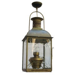 A Square Green Painted Tole Lantern with Dome Top