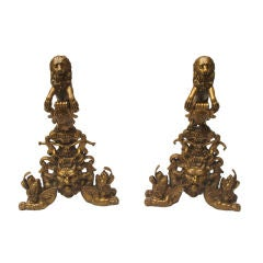A Pair of English Baroque Style Bronze Andirons with Lions