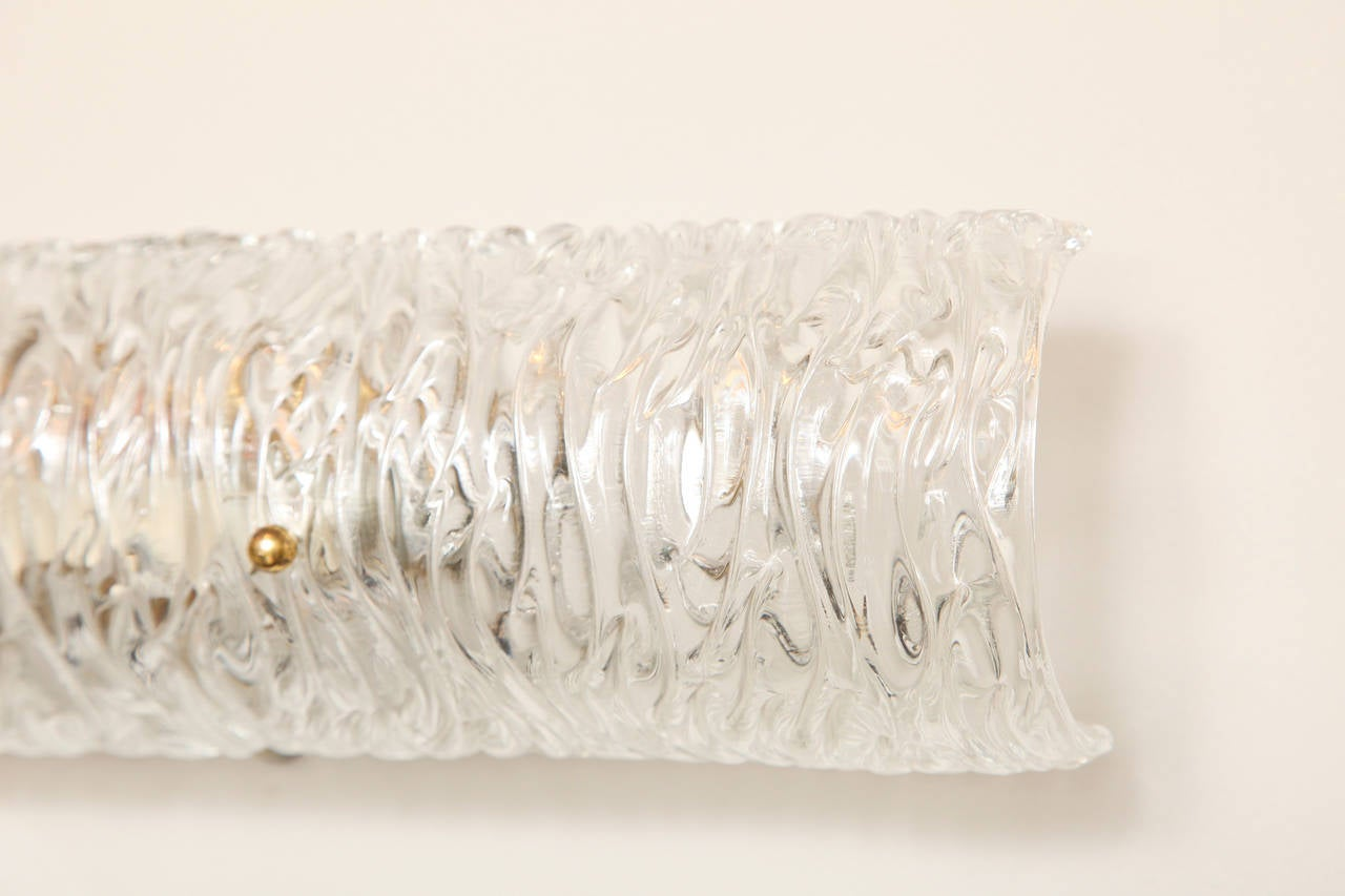 Horizontal Textured Glass Vanity Light at 1stdibs
