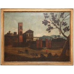 A French Oil on Canvas Depicting a Building with Tower