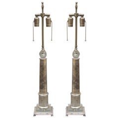 A Pair of American Art Deco Column Lamps