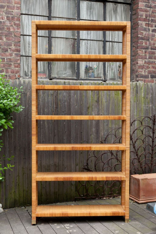 A Contemporary Design Bielecky 7 Tiered Rattan Etagere In Excellent Condition In New York, NY