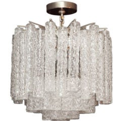 Signed Venini Ceiling Fixture with Cylindrical Textured Glass