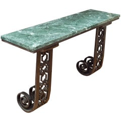 A French Art Deco Forged And Cast Iron Wall Mounted Console Table.