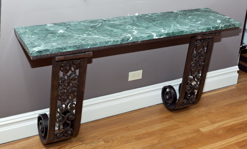 Wall Console Table a french art deco forged and cast iron wall mounted console table