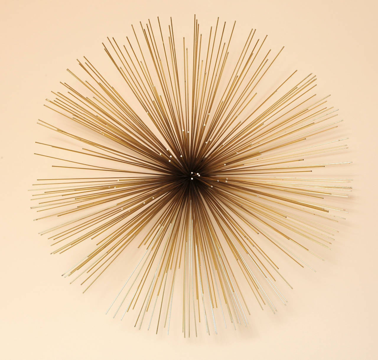 A Signed Curtis Jere Brass and Copper Wall Applique For Sale at 1stdibs