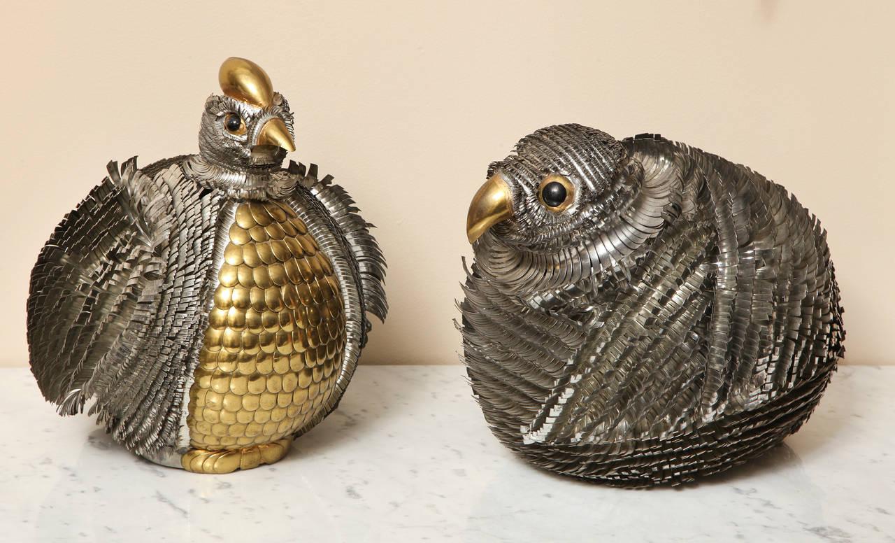 Bird Sculptures Pair Of Bustamante Mixed Metal Bird Sculptures At 1Stdibs