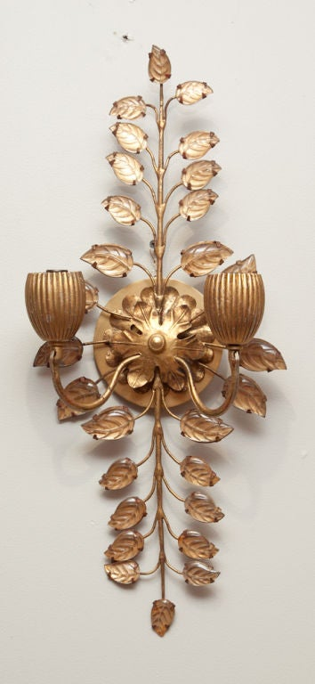 A Pair of Bagues Wall Sconces with Cut Crystal Branches at 1stdibs