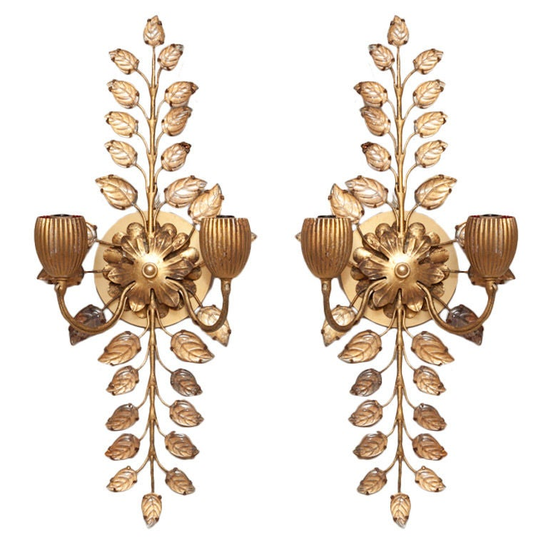 Wall Sconces With Branches : A Pair of Bagues Wall Sconces with Cut Crystal Branches at 1stdibs