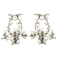 Pair of French Louis XV Style Three-Light Tole Wall Sconces