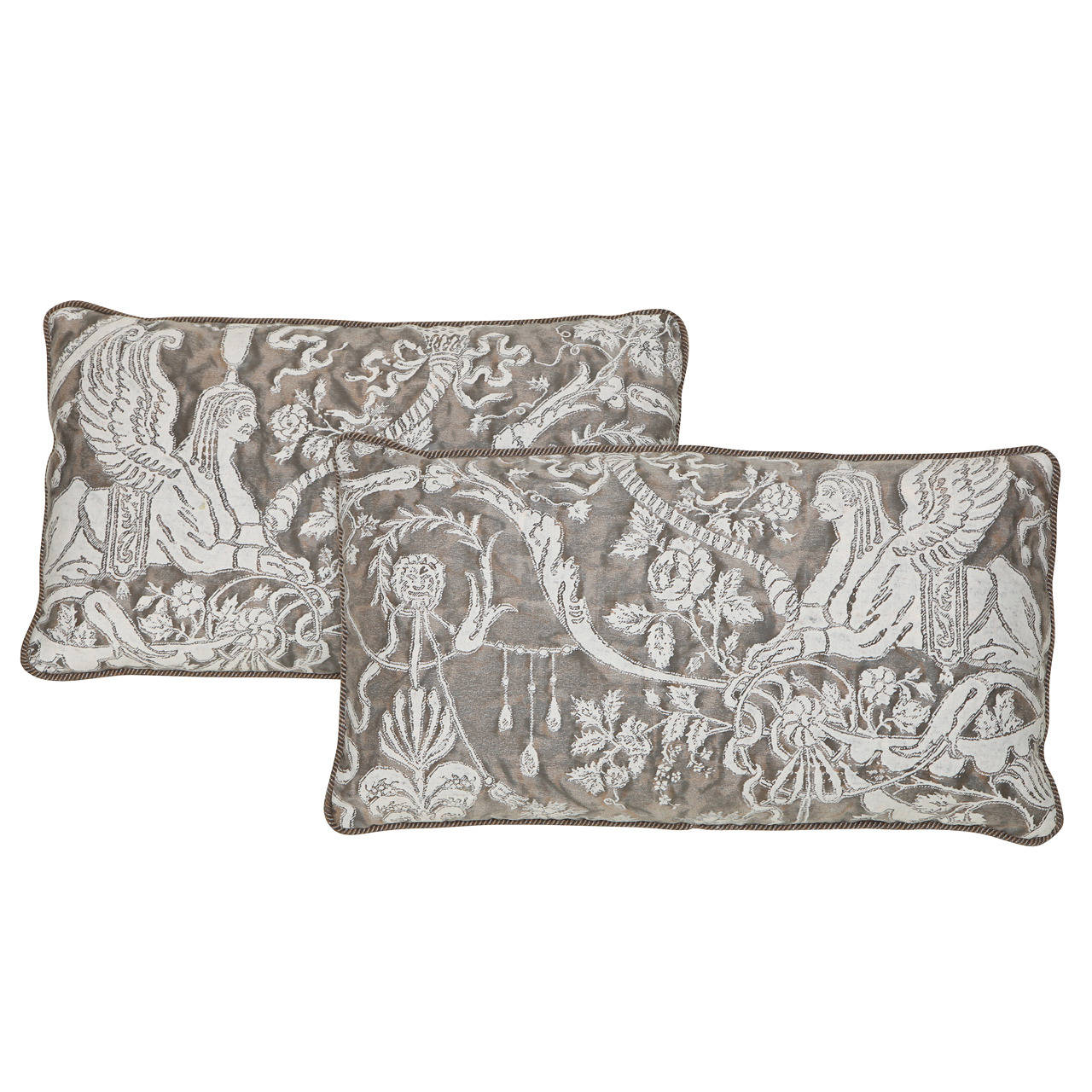 A pair of lumbar fortuny fabric cushions in the sfingi for Patterned material for sale