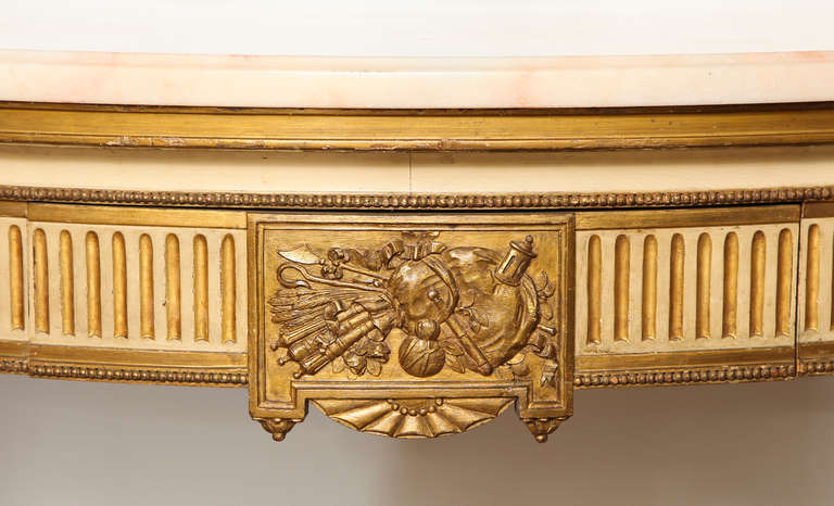 French, Louis XVI Style Demilune Console 3