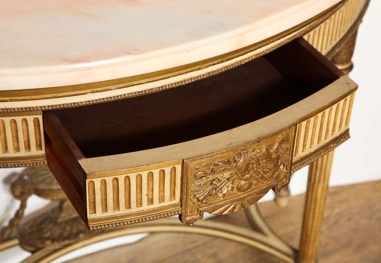 French, Louis XVI Style Demilune Console 4