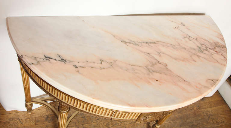 French, Louis XVI Style Demilune Console 6