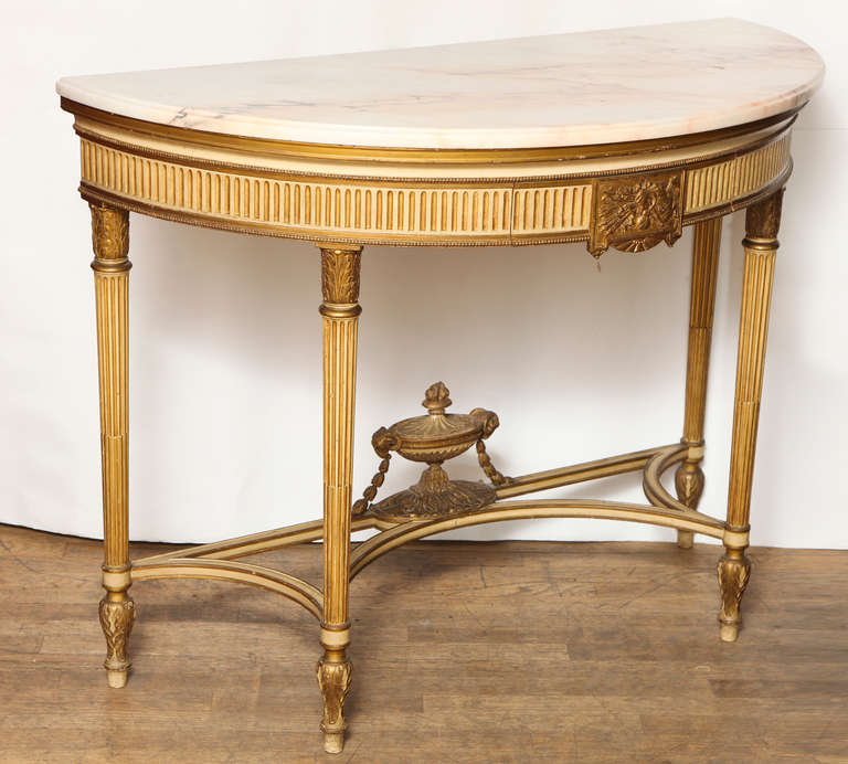 French, Louis XVI Style Demilune Console 8