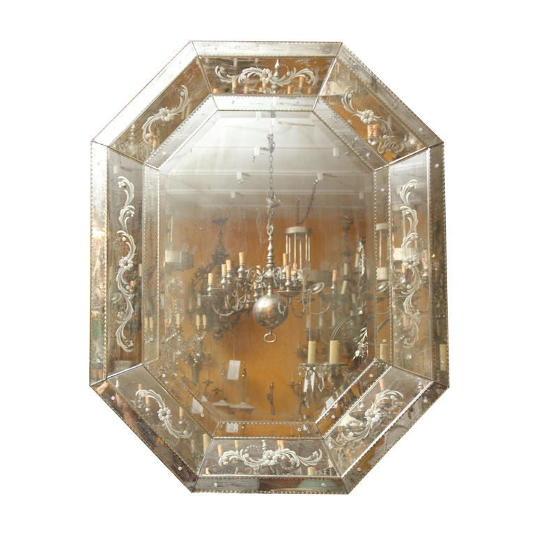 An octagonal venetian mirror with beveled center glass for Octagon beveled mirror