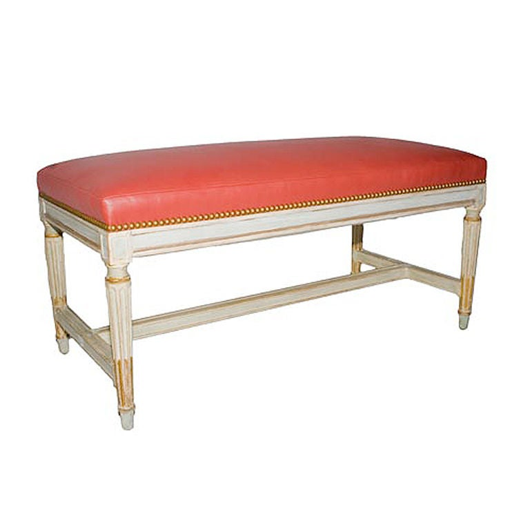 A French Louis Xvi Style Bench With Red Leather At 1stdibs