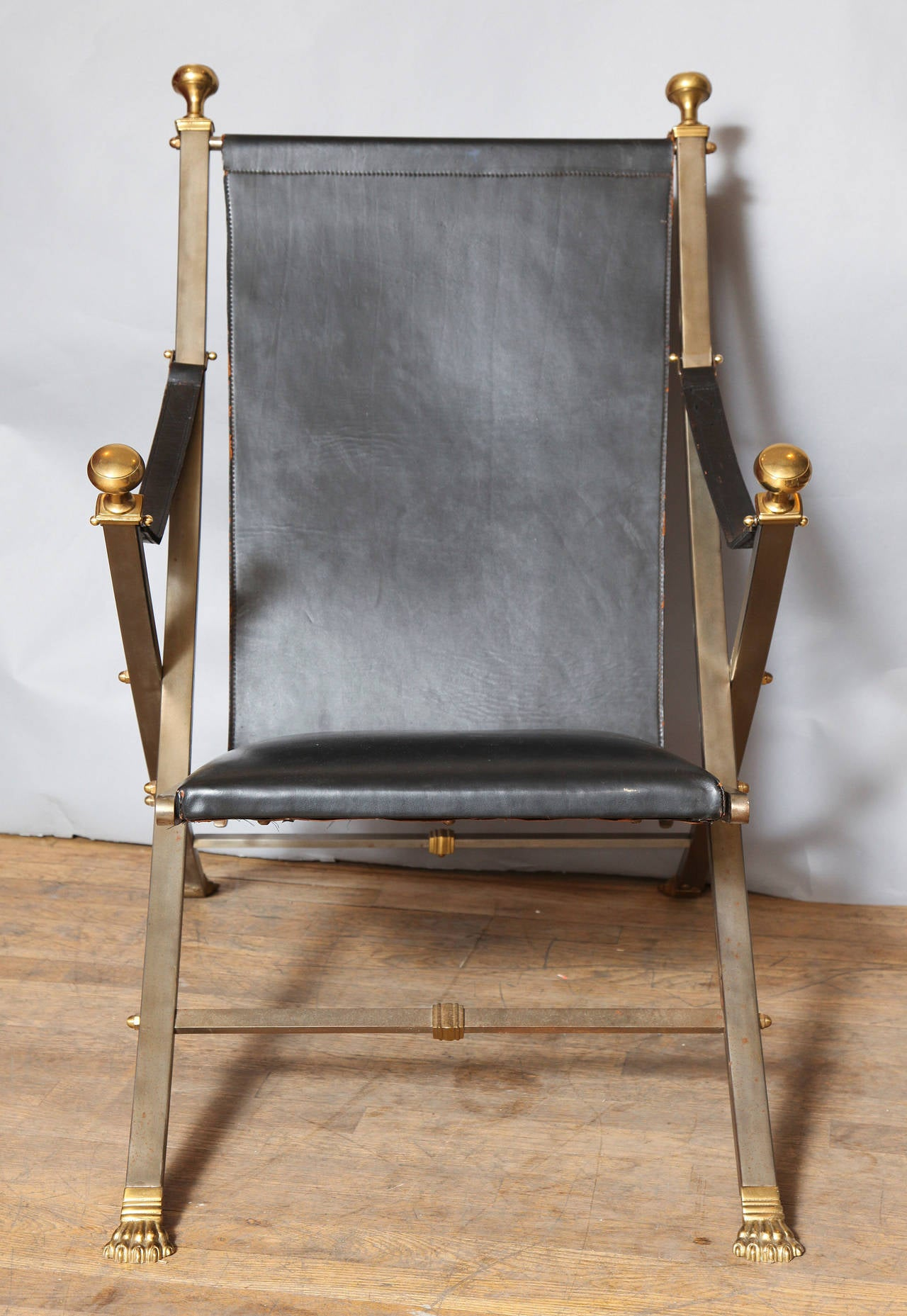 Pair of Jansen Style Campaign Chairs For Sale 3
