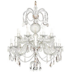 Rare 16-Light, Two-Tier English George II Style Cut Crystal Chandelier