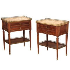 A Pair of French Louis XVI Style Two Drawer Bed Side Tables