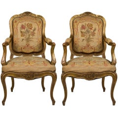 A Pair Of French Louis XV-Style Open Armchairs