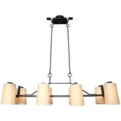 Eight-Light Horizontal Forged Iron Chandelier